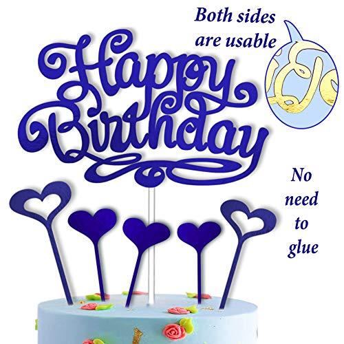 vsd-vk verjaardag taartdecoratie Happy Birthday taarttopper blauw decoratie voor taarten deco cake met 5 taartdeksels sterren harten taartdecoratie