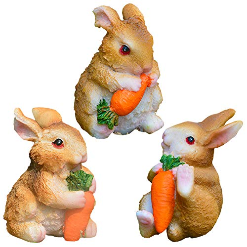 BESLIME Mini Decorazione Coniglio, Decorazione Coniglio in Resina, Decorazione Giardino Coniglio Set da Tre Pezzi Resistente alle Intemperie, Mini Decorazione Giardino Casa Conigli