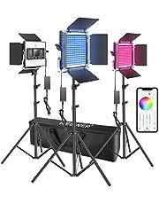 Neewer Set van 3 480 RGB ledlampjes met app-besturing, fotografie videoverlichting met standaard en tas 480 SMD led CRI95/3200K-5600K/helderheid 0-100%/0-360 instelbare kleuren