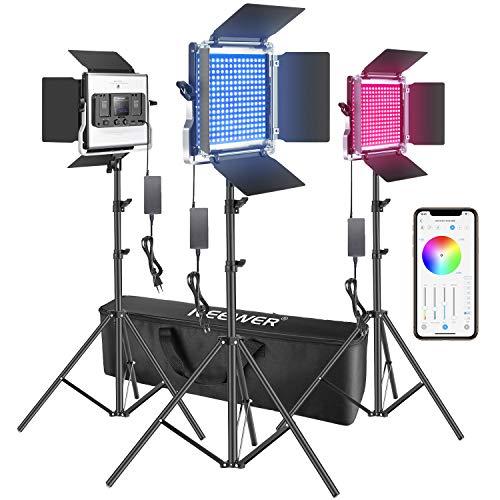 Neewer 3pz Luce LED RGB Faretto Controllabile via APP, con Stativo & Borsa di Trasporto, 480 Bulbi LED SMD CRI95 3200-5600K Luminosità 0-100% Colore Regolabile 0-360 9 Condizioni Applicabili