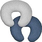 Minky Nursing Pillow Cover, Nursing Pillow Case Plush Breastfeeding Pillow Slipcover Fits Nursing Pillow, Ultra Soft Snug for Infant & Baby Boy Girl, Machine Washable & Breathable, 2 Pack-Grey & Navy