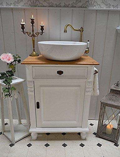 Land & Liebe Badmöbel GmbH Landhaus Waschtisch mit Eichenplatte Keramik-Waschbecken mit Unterschrank Landhausstil
