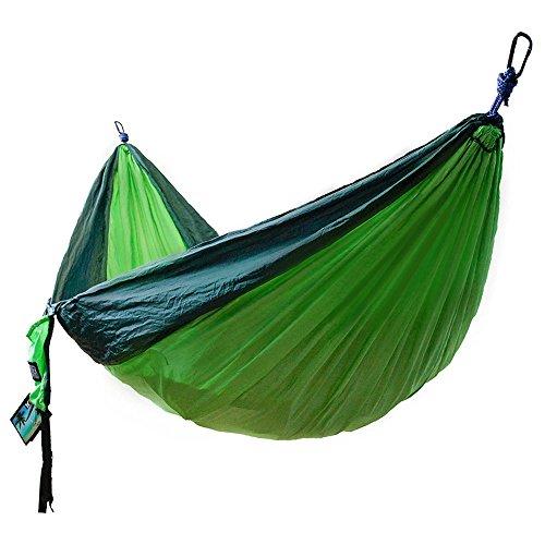"51OlFv2+kcL - WINNER OUTFITTERS Double Camping Hammock - Lightweight Nylon Portable Hammock, Best Parachute Double Hammock for Backpacking, Camping, Travel, Beach, Yard. 118""(L) x 78""(W), Dark Green/Green Color"