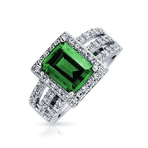 Bling Jewelry Estilo Art Deco 3Ct Simulada Talla Esmeralda