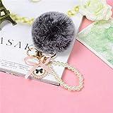 YYhkeby Llavero cadena de perlas de 8 cm llavero de bola de pelo de conejo bolsa femenina colgante joyería de coche pequeña joyería Jialele (color: negro gris)