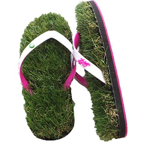 GFF Grass Flip Flops, Small (7.5-9), White Pink