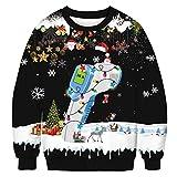 JUPSK Sudaderas navideñas unisex, Impreso en 3D divertido cuello redondo de manga larga para disfraces de fiesta de Navidad, novedad Santa con capucha y jersey de cuello redondo para mujeres y hombres
