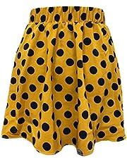 GAGA Women Pleated Elastic Plaid Skirts Schoolgirls Mini A-line Skirt