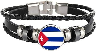 WONS Pulsera,Vendimia Multicapa Tejido Aleaciones Pulsera,Fútbol Tema Esposas por Hombres Mujer Decorativo Joyería/Cuba/Adjustable