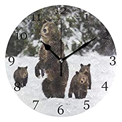 AUUXVA XMCL Grizzly Bear Wall Clock Silent Non Ticking Round Clock for Bedroom Living Room Office Home Decor