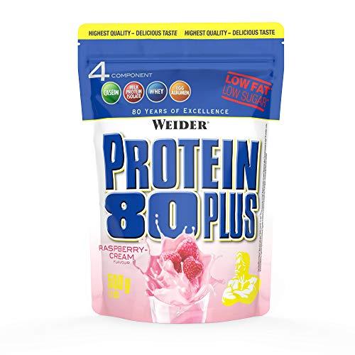 WEIDER Protein 80 Plus Eiweißpulver, Himbeer-Sahne, Low-Carb, Mehrkomponenten Casein Whey Mix für Proteinshakes, 500g
