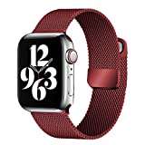 ecband Magnetic Metal Milanese Loop Band Compatible with Apple Watch Band 42mm 44mm, Adjustable Stainless Steel Mesh Strap Replacement for iWatch Series SE 6 5 4 3 2 1, Red