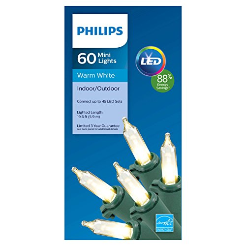 Philips Holiday Seasons 60-Count Indoor / Outdoor LED Mini Christmas String Lights Set - Energy Smart Star (Warm White)