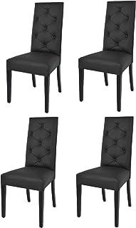 Tommychairs - Set 4 chaises Chantal pour Cuisine et Salle à Manger, Structure en Bois de hêtre peindré en Noir, Assise et ...
