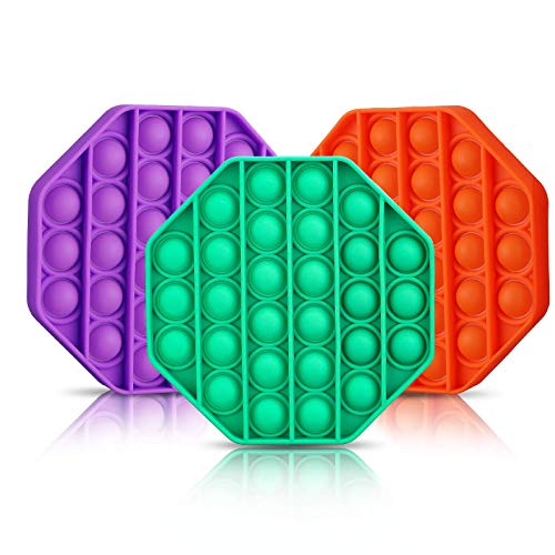CAMTOA Push Pop Bubble Fidget Sensory Toy, 3 Pack Pop Fidget Toy Octagonal Silicone Autism Special Needs Anxiety Stress Reliever Toys Squeeze Sensory Toy for Homeschool & Office,Kids,Adults