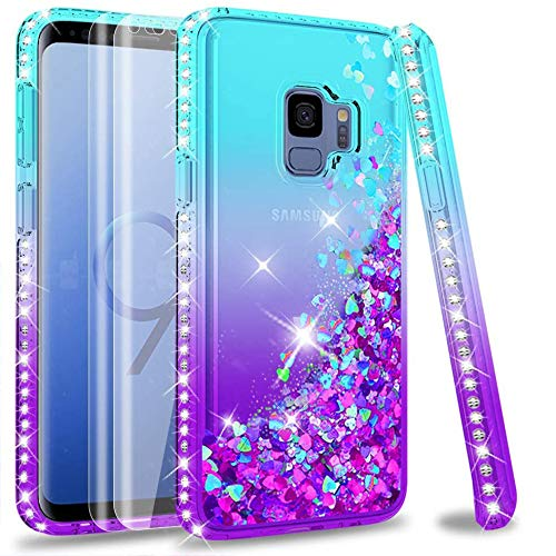 Galaxy S9 Glitter Case with 3D PET Screen Protector [2 Pack] for Girls Women, LeYi Cute Glitter Shiny Quicksand Clear Phone Case with Ring Holder Kickstand for Samsung S9 Teal/Purple
