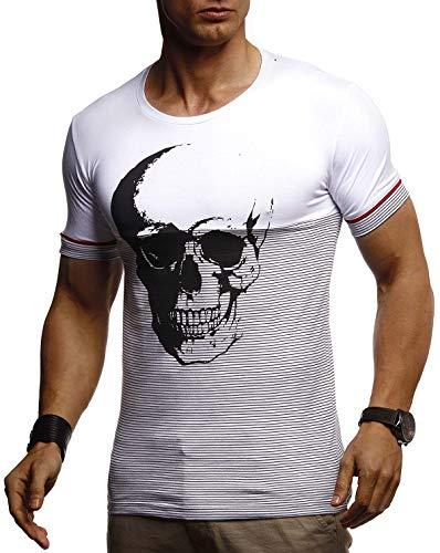 Leif Nelson LN4795 T-shirt d'été à col rond pour homme Coupe ajustée Partie de coton Basique Tête de mort T-shirt à manches courtes et longues - Blanc - Large