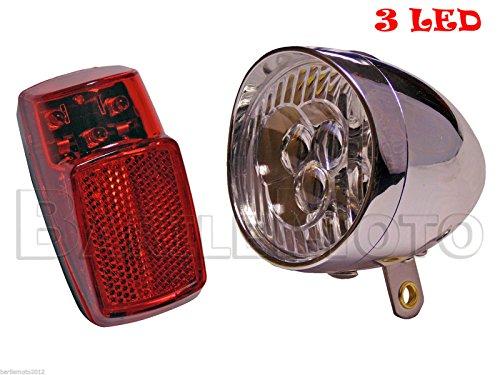 Kit Fanale Luce Anteriore Rosso + Posteriore 3 LED Bici Olanda - R - Graziella - City Bike