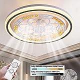 LED Moderno Lámpara De Techo Ventiladores De Techo Con Lámpara Y Control Remoto Sala De Estar Silenciosa Invisible Dormitorio Habitación Infantil Ventilador Lámpara De Techo Ø50cm, 36W (2#)