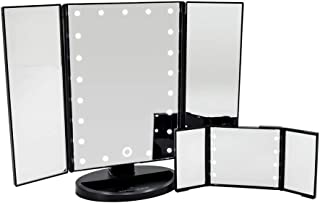 Impressions Vanity Touch & Go Trifold Makeup Vanity Mirrors with LED Lights - Compact Trifold Mirror and Tabletop Makeup Mirrors - Bundle Makeup Mirror Set with LED Lights