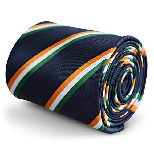 1d8891b08dcc Frederick Thomas Navy Blue Mens Tie with Irish Flag Orange, Green and White  Stripe pattern