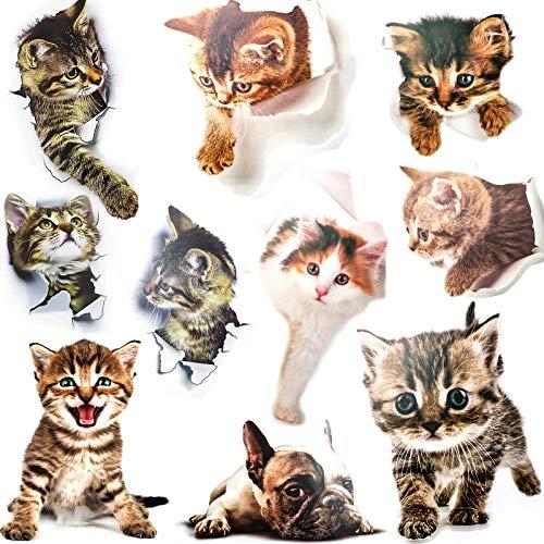 cersaty 10 Stück 3D Katze/Hund Deko Wand Wandsticker Aufkleber Wandtattoo für Wohnzimmer Kinderzimmer Türen Fenster Badezimmer Toilettendeckel Kühlschrank