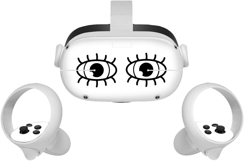 Sticker for Oculus Quest 2 VR Headset and Controller, Vinyl Decal Skin for VR Headset and Controller, Virtual Reality Protective Accessories - Black and White.