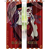 Printed Blackout Curtains, Skull of Dead Corpse Cute Girl with Hat and French Dress, W52 x L84 Blackout Sábanas para Kid's Room, Maroon Ruby Burgundy