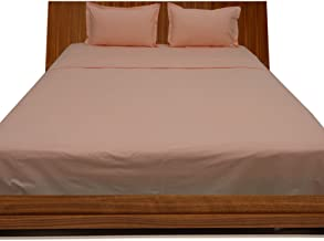Relaxare Short Queen 300TC 100% Egyptian Cotton Peach Solid 4PCs Sheet Set Solid (Pocket Size: 25 inches)