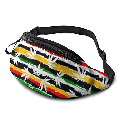 PULLA Riñonera Deportivo Bolso Cintura Cinturón Ajustable Running Belt Bolsa de Correr Hoja de Cannabis de Colores rastafaris