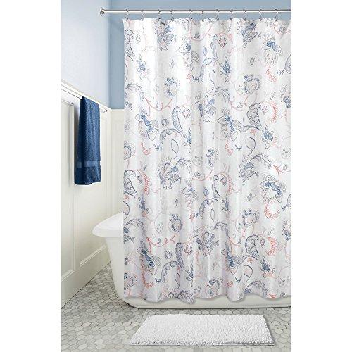 iDesign Shelby Duschvorhang   geblümter Badewannenvorhang mit stabiler Aufhängung an 12 Ösen  Dusche Vorhang der Größe 183,0 cm x 183,0 cm   Polyester marine/grau/koralle