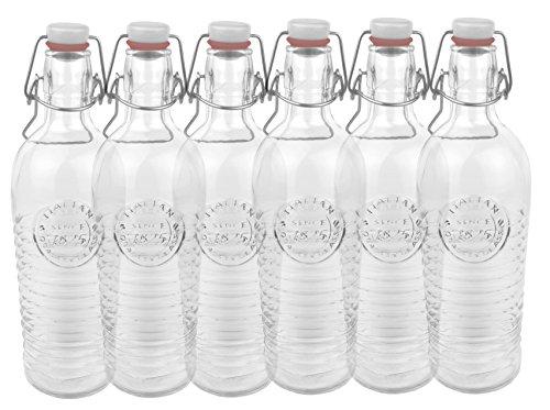 Bormioli Officina 1825 Lot de 6 bouteilles en verre Avec relief et stries Qualité italienne Idéal pour confire, fermenter, décorer, préparer des boissons