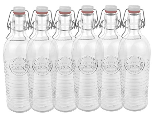 Set di 6 bottiglie in vetro Officina 1825 - rigata, 1,2 litri, con chiusura a staffa e motivo ornamentale in rilievo