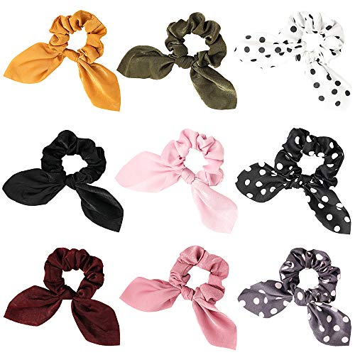 Scrunchies Hair Ties Silk Satin Scrunchy - Cute Bow Bunny Ear Hair Elastic Ponytail Holder Bobbles Soft Elegant Elastic Hair Bands with Tail Ribbon