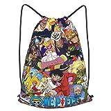 One Piece School Sports Bag Drawstring Backpack Waterproof Gym Big School Bag Daily Rucksack Travel Swimming Bag Children Girls Boys Students Drawstring Strap Pack