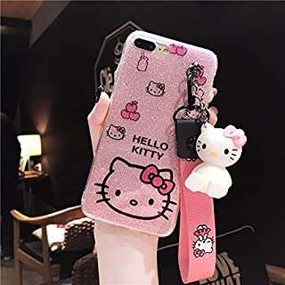Maxlight for iPhone Xs Max XR Kitty Case Bling Hello Kitty Cover for iPhone 7 8 Plus X Phone Cover + Toy Stander +Strap (Style 4, for iPhone 7plus 8plus)