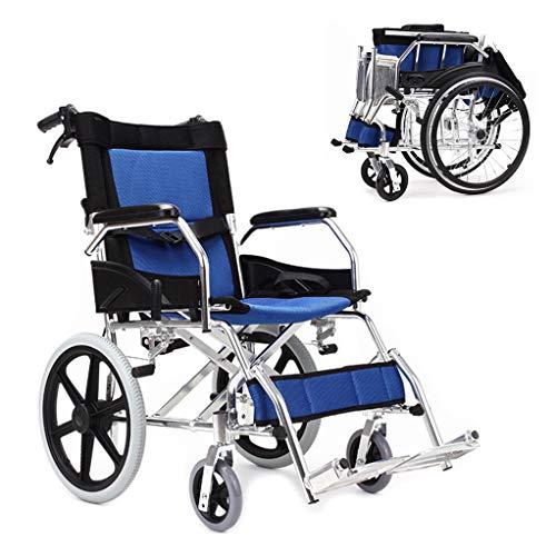 Fire Cloud Inklapbare rolstoel, draagbare lichte stoel met eigen aandrijving, met opbergtas, gestoffeerde transportstoel, inklapbaar pedaal en remgreep, 18 inch zitje