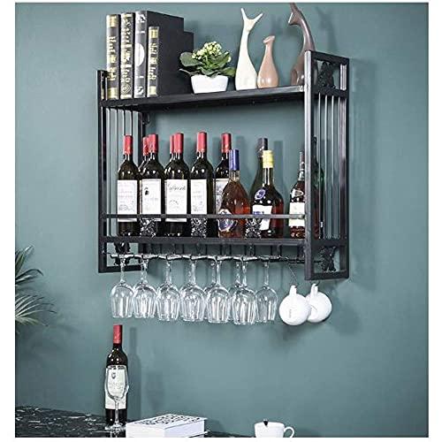 Productos para el hogar Estante para botellas Estante para vino Portavasos para vino Estante para vino Estante de almacenamiento montado en la pared multifuncional Madera (Color: Dorado Tamaño: L100cm