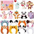 Valentines Day Cards For Kids - 28 Valentine Cards + 28 Inflatable Animal Headbands + 28 Pink Gift Envelopes, Animal Greeting Cards Valentines Exchange Cards for Kids Boys Girls School Classroom