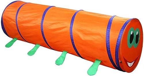 HWZP Kinderzelt, Orangefarbiges haariges kriechendes Tunnelzelt für Kinder, Indoor-Spielkrabbelkanal für Kinder