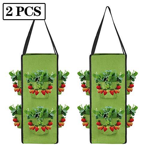 xinchengraoji Erdbeer-Pflanztasche zum Aufhängen, Erdbeer-Anzuchtbeutel, atmungsaktiv, weicher Vliesstoff, Belüftungskorb für Garten, Erdbeeren, Kräuter, Blumen