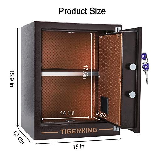 TIGERKING Digital Security Safe Box Solid Alloy Steel Construction Large Safe for Home Office Hotel...