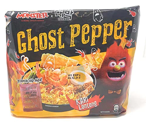 Daebak Ghost Pepper Spicy Black Noodles Tik Tok Spicy Challenge Spicest Instant Noodle ever created, Authentic Spicy Recipe Hottest Pepper in the World Asmr Challenge (4 Packs Ghost Pepper Creamy Curry)