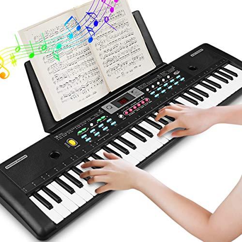 Tastiera Musicale 61 Tastiera Elettronica Portatile, Tastiera per Pianoforte Portatile con Supporto per Musica, Microfono, Alimentatore Tastiera Digitale per Pianoforte Musicale per Bambini
