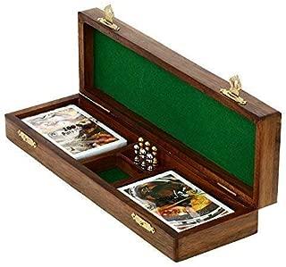 KITCHEN SUPPLIER Game Cribbage Boards Set, 2 Decks of Cards, 6 Metal Pegs with Storage- Premium Mango Wood