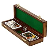 KITCHEN SUPPLIER Game Cribbage Boards Set, 2 Decks of Cards, 6 Metal Pegs with Storage- Premium Mango Wood--Happy Mother's Day Collection 2020