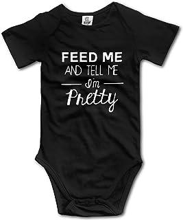 Dezzert030 Füttere Mich und sage Mir, ich Bin ziemlich cool Baby Kurzarm Strampler Strampler Strampler