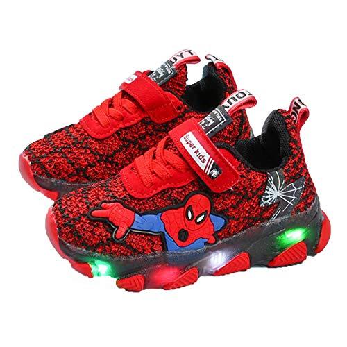 WQLESO Enfants garçons Spiderman Baskets LED lumière Chaussures de Sport Lumineuses Dessin animé Maille Respirant Chaussures de Course,Red-25EU