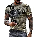 Camiseta de la Ruta 66 para Hombre Camiseta Retro Vintage Camiseta de Motociclista Camiseta de Manga Corta con Cuello Redondo