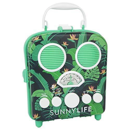 SunnyLIFE Tragbarer Strand-MP3-Lautsprecher mit AM/FM-Radio und Smartphone-Halter Mittel Monteverde